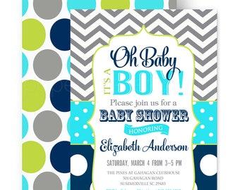 Oh Baby Boy Shower Invitation Navy Lime and Grey Chevron - Fun - Boys Baby Shower - Classic - Retro Sprinkle - Printable - Printed (POPNAV)
