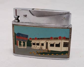 1950s  Enamel Advertising Lighter - Smith's Restaurant - Premium Quality Automatic Japan push button lighter - Rehabbed, working