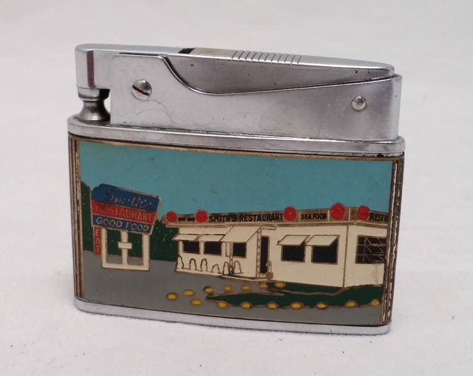 Featured listing image: 1950s  Enamel Advertising Lighter - Smith's Restaurant - Premium Quality Automatic Japan push button lighter - Rehabbed, working