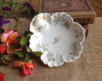 FREE SHIPPING Pretty Haviland Limoges Trinket Dish with Pastel Floral Clusters and Gold Trim