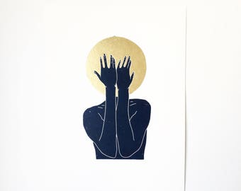 I Can't w/ Gold  //  Lino Print - Block Print - Modern Art - Linocut - Printmaking