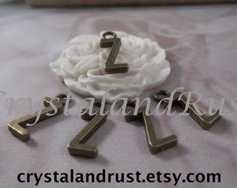 "5 Letter ""Z"" Antique Bronze Charms --- Antique Bronze Color"