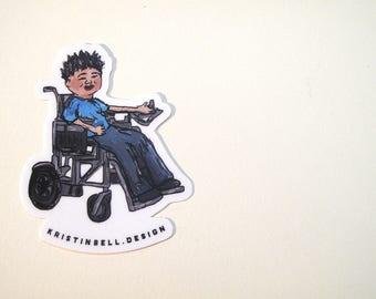 Super Cool Wheelchair Kid Die Cut Vinyl Sticker!