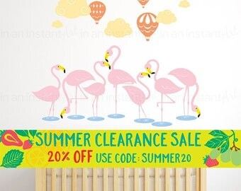 Flamingo Wall Decal | Hot Air Balloons Wall Decal | Custom Baby Nursery and Children's Room Interior Design | Easy Application 148
