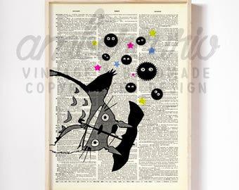 It's Raining Soot Sprites Totoro Umbrella Ghibli Inspired Original Art Print on an Unframed Upcycled Bookpage