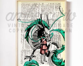 In Love Chihiro and Haku Spirited Away Studio Ghibli Tribute Print on an Unframed Upcycled Bookpage