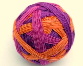 "Self Striping Sock Yarn, Superwash Merino, Nylon and Silver Stellina Fingering Weight, in ""Bougainvillea"""