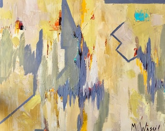 Original Abstract Geometric Oil Painting / 24 x 30 Gallery Wrapped Canvas