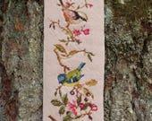 Vintage Handmade Dusty Pink Cross Stitch Wild Bird Tapestry Vertical Banner w/ Brass Hanger- Woodland Nature Forest Garden Shabby Chic