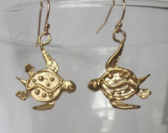 Artisan Created Bronze Sea Turtle Earrings with 14k Gold Filled Earwires