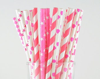 Dark Pink Paper Straw Mix/Striped/Chevron/Diamond/Checkered/Circle Straws/Party Decor/Cake Pop Sticks/Party Supplies/Wedding/Baby Shower