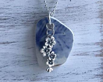 Cherry Blossom Floral Blue Sea Pottery Necklace, Atlantic Sea Necklace, Spring Blossom necklace, OOAK, Sakura Necklace, Beach Bridal Wedding