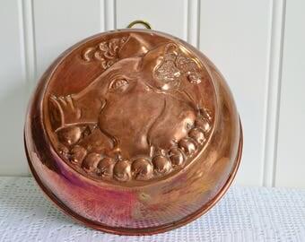 Christmas pig copper mold, vintage Swedish festive kitchen decor , rustic tarnished copper