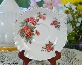 Royal Albert Centennial Rose Replacement Saucer, English Bone China Saucer, ca. 1967