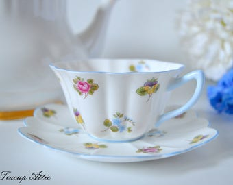 Shelley Teacup And Saucer Set With Blue Trim, English Bone China Tea Cup, Wedding Gift, Fluted Teacup,  ca. 1945-1966