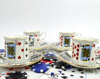 Set of 4 (Four) Elizabethan Staffordshire Playing Cards Teacup And Saucer, English Bone China  Coffee Can Espresso Cup Set, ca. 1950