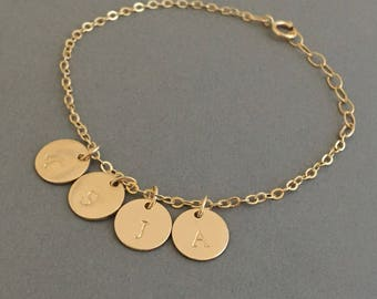 Stamped Initial Disc BRACELET Available in Gold Fill, Rose Gold Fill, and Sterling Silver