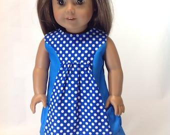 A Pocket for My Posies, blue doll dress, 18 inch clothing, polka dot, dress for dolls