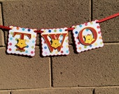 Winnie the Pooh. Birthday Banner.  ONE or TWO . Red and yellow. Photo prop.