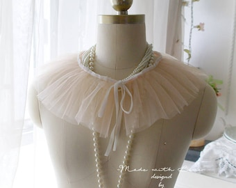 Light Blush Pink Fairy silk tulle cape capelet lace pleated Collar Peter Pan Collar deco Velvet Bow, goth, gothic accessories,  ,choker