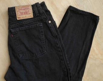 vtg 90s Levi's 550 30in Relaxed Tapered high waisted black faded mom jeans 30in waist Short