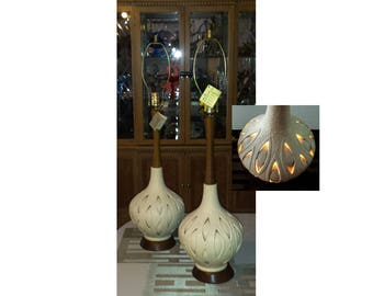 Phoenix Italian Glass Lamps MCM Hand Blown Teak Top Bottom Lights Up