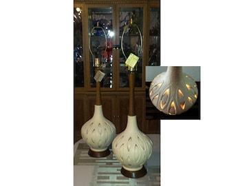 ONE Phoenix Italian Glass Lamp MCM Hand Blown Teak Top Bottom Lights Up