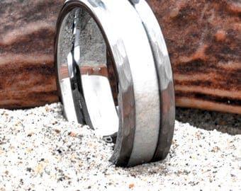 Tungsten Deer Antler Ring 8mm Hammered Finish Wedding Band or Gift