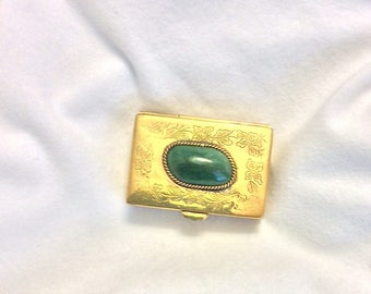Vintage hand-crafted copper with green Agate copper pill box.