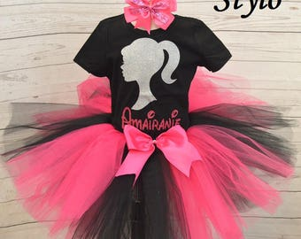 Barbie birthday outfit,  FREE SHIPPING, birthday outfit,birthday girl outfit, barbie birthday tutu,hot pink tutu,girl birthday outfit