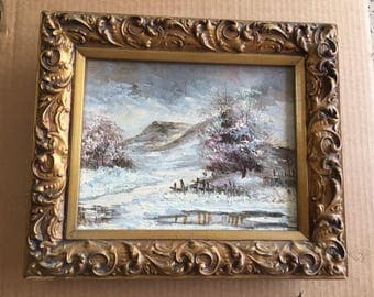 """Painting of Winter Scene in Beautifully Detailed Gold Tone Frame - 13"""" x 11"""" Signed"""