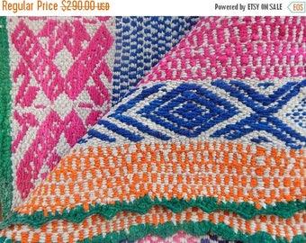 SALE Grass Green – Vintage Peruvian Frazada (Manta) Rug –blue / pink / orange