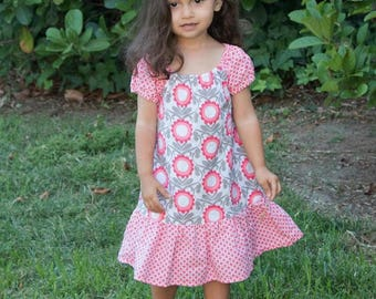 Girl Peasant Dress, Toddler Peasant Dress, Floral Girl Dress, Floral Toddler Dress, Little Girl Dress, Girls Floral Dress, Coral Dress