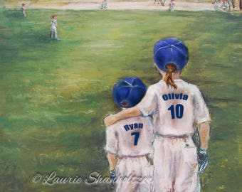 """Baseball Personalized sports art print, add Names Numbers  Colors. Ponytail for girls Laurie Shanholtzer """"Someday..Little Brother"""""""