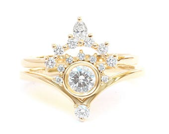 """Natural Diamond Engagement Rings Set, Diamond """"Bliss"""" Ring with Matching Side Marquise Diamond Band, Unique Desiner Rings Diamond Solid Gold"""