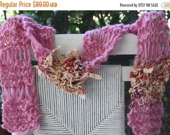 XMAS IN JULY up to 50%off Sale Hand Knit Scarf in Pink with printed fabric pieces, made of Handspun Hand Dyed Super Soft Bulky Yarn