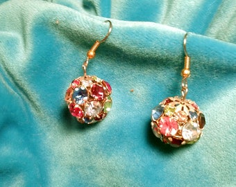 Vintage  Multi Colored Rhinestone Disco Ball Earrings.