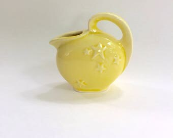 Vintage Shawnee Pottery Yellow Mini Miniature Star Pitcher Vase with embossed Stars