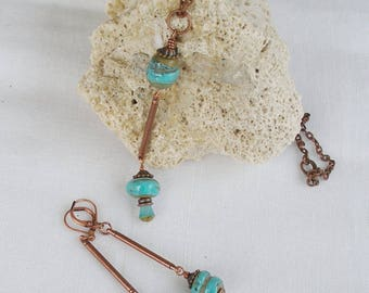 Waterfall--Designer Turquoise Lampwork and Copper Necklace and Earring Set  46NE