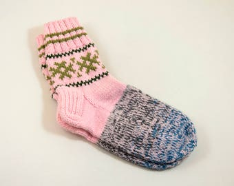Hand Knitted Wool Socks - Pink and Blue, Size Large