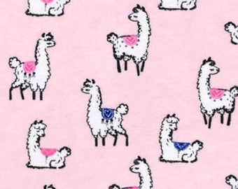 Snuggle Flannel Fabric - Llamas on Light Pink - Sold by the Yard