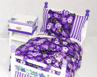 SPECIAL SALE PURPLE Floral & Stripe Girls Dollhouse Miniature Twin Bed and Nightstand 2-pc Set Hand Painted 1:12 Furniture Ultra Violet