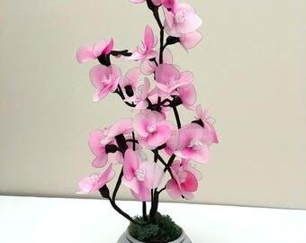 Handmade Nylon Flower Arrangement, Nylon Flowersr, Floral tabletop,Wedding Décor, Nylon Flower,  Gifts for Girl's Room, Dark Pink Orchids