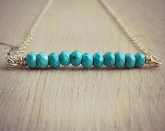Turquoise Bar Necklace - Aquamarine - Gemstone Necklace - Layering Necklace - Dainty Necklace - Bar Necklace - Gold - Minimal Necklace