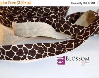 ON SALE CLEARANCE 2 or 5 Yard Increments - Giraffe 5/8 Inch Printed Fold Over Elastic - foe - Brown - Animal Print - Diy Baby Headbands Hair
