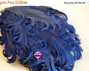 ON SALE 1 Curly Nagorie Feather Pad - Goose Feather Pad - Navy Blue - DIY Headband Hair Clip Hat Wedding Supplies - newborn photo prop - dar