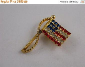 ETSYCIJ Americana Pin / American Flag Brooch / Red White and Blue Rafaelian Rhinestone Flag Brooch