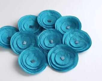 Turquoise Blue Silk Poppies Embellishment