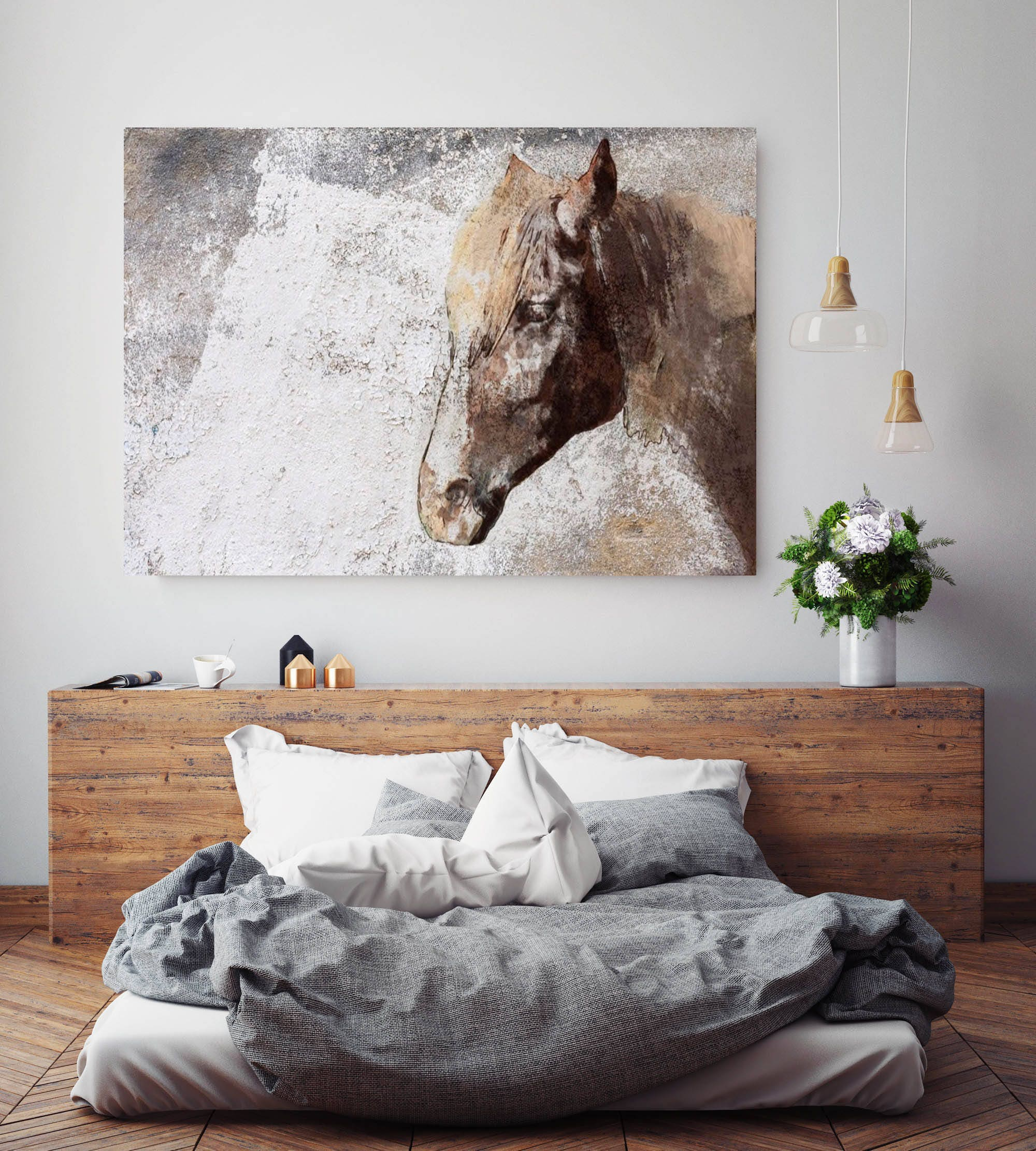 Gorgeous Rustic Brown Horse. Extra Large Horse, Horse Wall Decor, Brown  Rustic Horse, Large Canvas Art Print Up To 72 By Irena Orlov