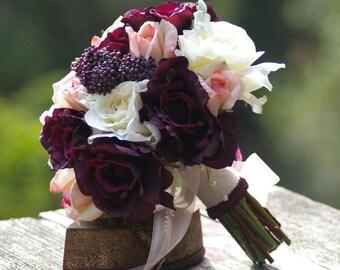 Silk Rose And Faux Succulent Wedding Bouquet Marsala Deep Plum Sangria Pink